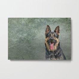 German Shepherd dog. Drawing, illustration funny dog Metal Print