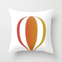 hot air balloon Throw Pillows featuring Hot, hot air balloon by SPLEJS