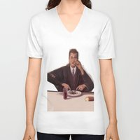 magritte V-neck T-shirts featuring Rene Magritte- self portrait by Dano77