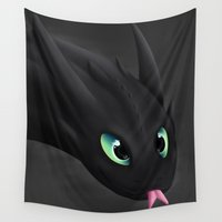 toothless Wall Tapestries featuring Toothless by Alkraas