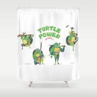 ninja turtle Shower Curtains featuring Ninja Turtles Turtle Power by MrMaars