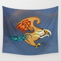 hawk Wall Tapestries featuring Hawk by Knot Your World