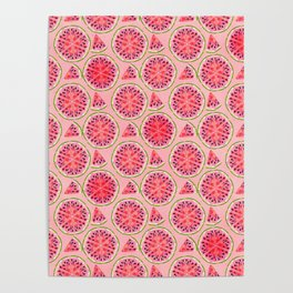 pink watermelon pattern Poster