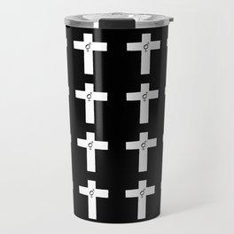 Christian Cross 34 with symbol of transgender Travel Mug