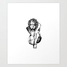 Crouching girl Art Print