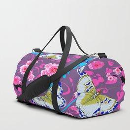 PINK ROSES & BUTTERFLIES  BLUE SCROLLS ART Duffle Bag