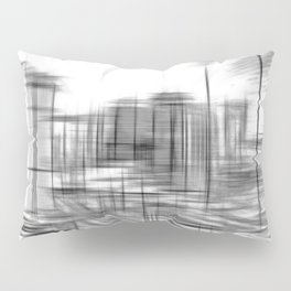 pencil drawing buildings in the city in black and white Pillow Sham