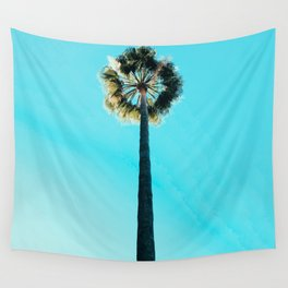 Modern tropical palm tree blue turquoise sky photography Wall Tapestry