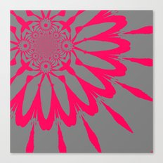 The Modern Flower Gray & Pink Canvas Print