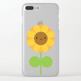 Kawaii Sunflower Clear iPhone Case