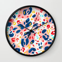 Painted Abstract Leopard Print Wall Clock