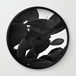 Cactus in Black And White Wall Clock