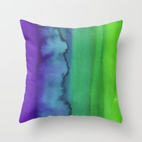watercolour Throw Pillows featuring Watercolour by Amber Nuttall