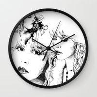 stevie nicks Wall Clocks featuring Trois Stevie by Lynette K.