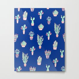 Little cactus pattern - Princess Blue Metal Print