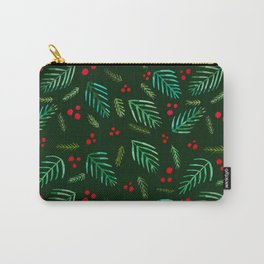 Christmas tree branches and berries - green Carry-All Pouch