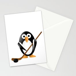 Penguin with a hokey stick Stationery Cards