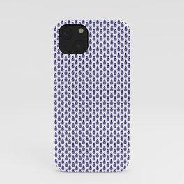 Indian Flowers Blockprint 1 (Dark Blue) iPhone Case