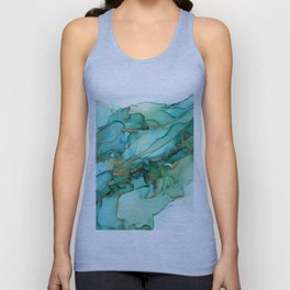 Emerald Gold Waves Abstract Ink Unisex Tank Top