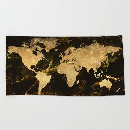 world map marble 5 Beach Towel