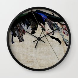 clothes in the wind Wall Clock