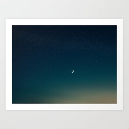 Turquoise Night Star Sky With Moon Astronomy Photography Art Print