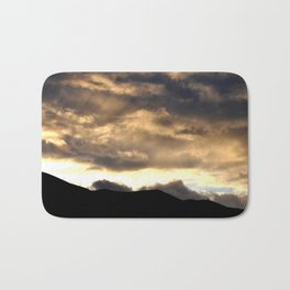 SUNSET THRU THE HEAVY RAIN CLOUDS Bath Mat