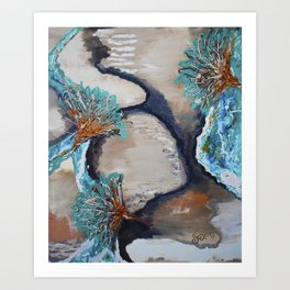 Flower Rock Water Art Print