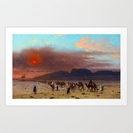 "Jean-Léon Gérôme ""Caravane dans le désert"" Art Print"