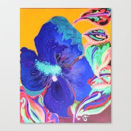 Birthday Acrylic Blue Orange Hibiscus Flower Painting with Red and Green Leaves Canvas Print