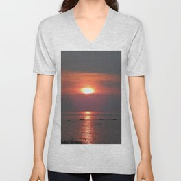Ste-Anne-Des-Monts Sunset on the Sea Unisex V-Neck