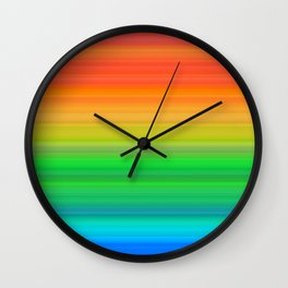 Bright Rainbow Stripes Wall Clock