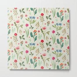 Tossed Spring Floral Pattern Metal Print