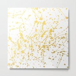 Splat White Gold Metal Print