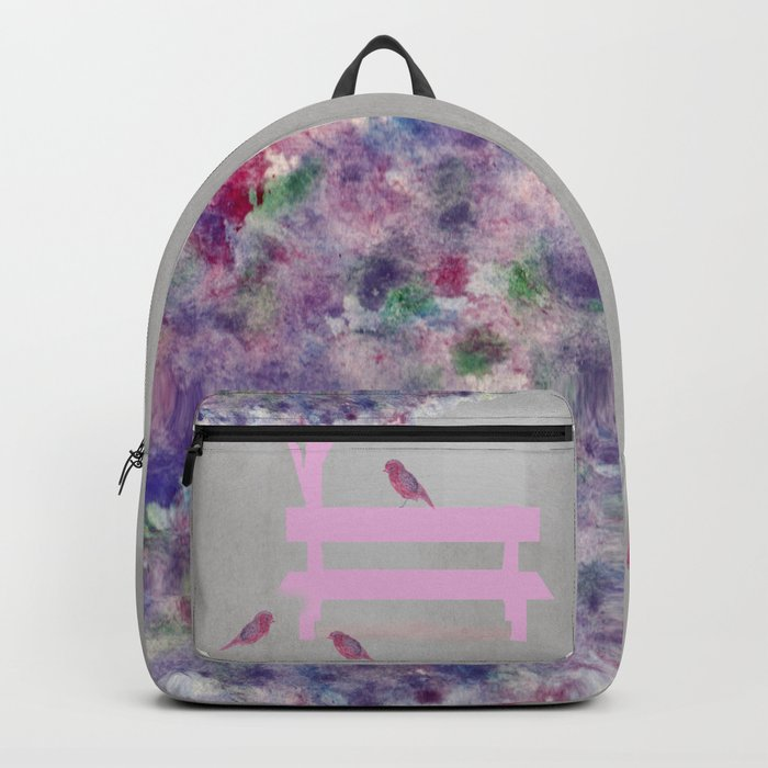 Park bench tree and birds Backpack
