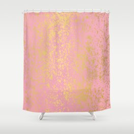 """Pale Pink """"Formica"""" with Gold Digital Design Shower Curtain"""