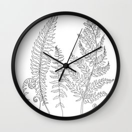 Minimal Line Art Fern Leaves Wall Clock