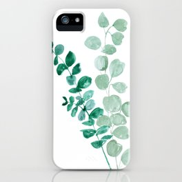 Watercolor eucalyptus leaves iPhone Case