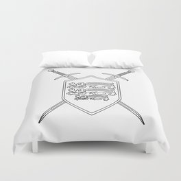 Crossed Swords and Shield Outline Duvet Cover