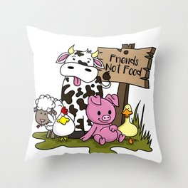 Friends Not Food Animal Rights Pig Cow present Throw Pillow