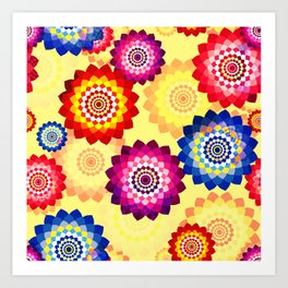 Seamless floral background with mosaic multi-colored aster flowers Art Print