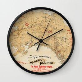 Map of Alaska 1898 Wall Clock