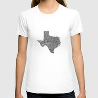 texas T-shirts featuring Typographic Texas by CAPow!