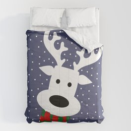 Reindeer in a snowy day (blue) Comforters