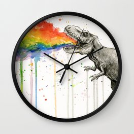 T-Rex Dinosaur Vomits Rainbow Wall Clock