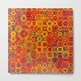 Geometric Art Digital Deco Scetch Fire Colors Pattern Gift Metal Print