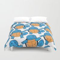 squirtle Duvet Covers featuring  1 Squirtle, 2 Squirtle, 3 Squirtle, 4 by pkarnold + The Cult Print Shop