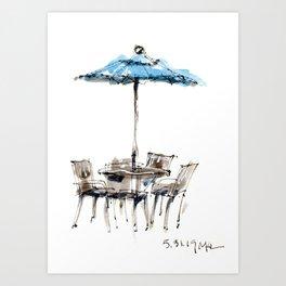 Blue Umbrella Art Print