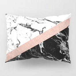 Modern black white marble color block rose gold Pillow Sham