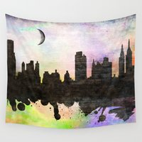 new york Wall Tapestries featuring new York  new York  by mark ashkenazi